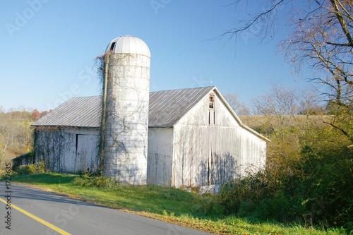 abandoned barn and silo