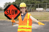 construction slow sign poster