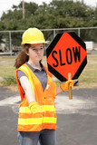 road crew slow sign poster