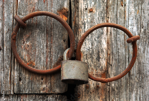 closed gate with a lock