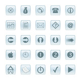 various aqua/glass style web buttons poster