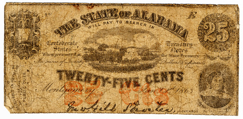 25 cent confederate bank note