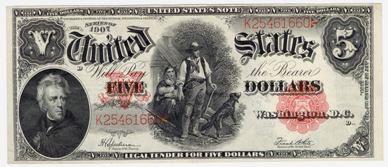vintage five dollar bill