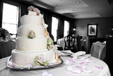 wedding cake in mixed color and black and white poster