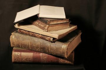 antique books on black