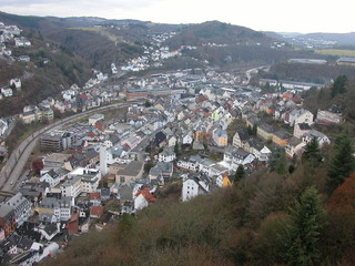 birds eye view of idar-oberstein, germany