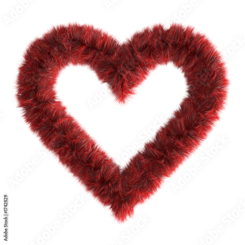 3d fur red heart