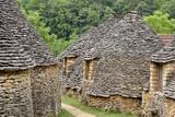 Fototapeta stone huts in breuil, france