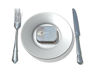 couverts silverware assiette et boite de conserve