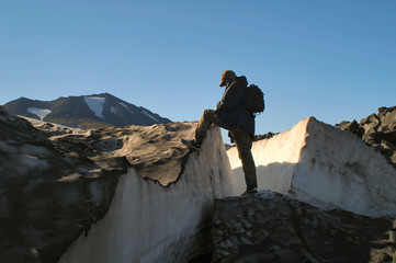 ascent on peak of the mountain
