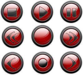 rote mediaplayer buttons