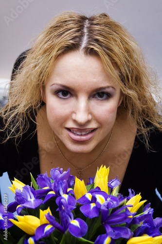 pretty blond with bouquet of flowers