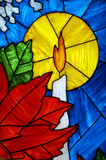 candle in stained glass poster