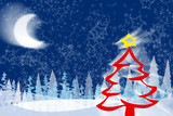 christmas tree - merry christmas - greetings poster