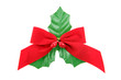 red christmas bow and holly