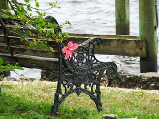 garden bench with flower