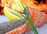 rose colored fish, summer food with lemon wine mar