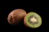 whole  and cuted kiwi close up poster