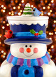ceramic snowman smiling and wearing winter clothin
