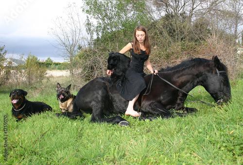 Fotobehang Jacht l'enfant et ses animaux