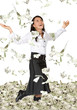 business woman with lots of money