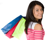 girl in pink with shopping bags poster