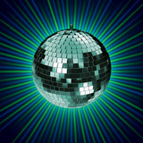 3d rendering of a disco mirrorball poster