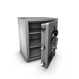 3d rendering of an opened safe. poster