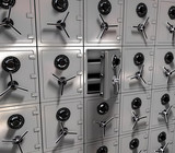 3d rendering - a wall of safes, one opened poster