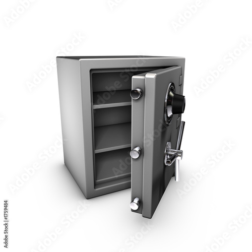 3d rendering of an opened safe.