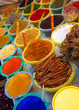 spices and dyes on an arabian market stall