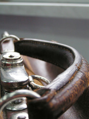 handle of old traveling bag