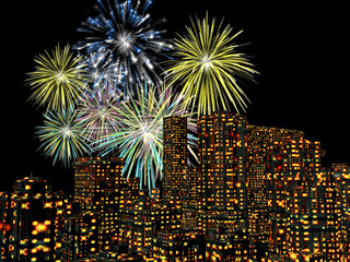 fireworks over the city, new years
