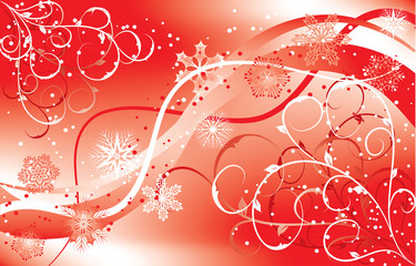 christmas floral background with a snowflakes