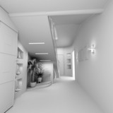 blank modern interior of the privat apartment (3d) poster