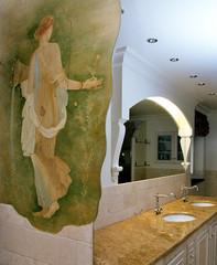 fresco in old styled bathroom