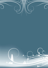 abstract winter background with firtree silhouettes and santa cl