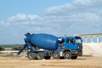 blue concrete truck mixer in the workmanship