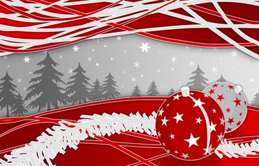 red and silver christmas gift card