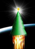 christmas tree shooting into space poster