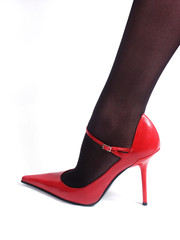 black nylons and red shoe