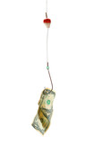 conceptual. dollar bill in a hook poster