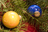 christmas ornaments with douglas fir branch poster