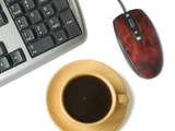 keyboard, mouse, cofee cup poster