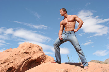 sexy man in blue jeans