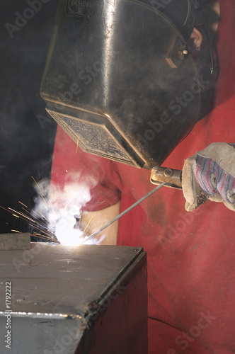 welder in red