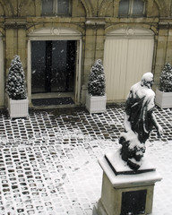 paris small museum in the snow