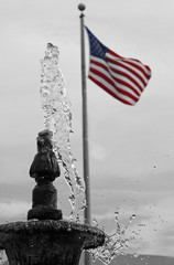 the flag and  fountain