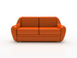 red sofa on white background  insulated 3d