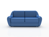 blue sofa on white background  insulated 3d poster